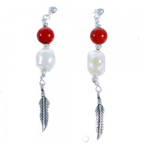 Coral And Fresh Water Pearl Feather Bead Sterling Silver Post Dangle Earrings SX114956