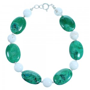 Chrysocolla And Howlite Southwest Sterling Silver Bead Bracelet SX114968