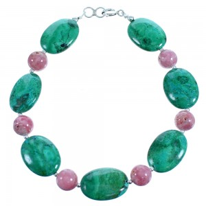 Chrysocolla And Rhodochrosite Sterling Silver Bead Bracelet SX114982