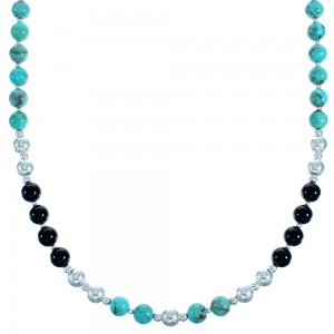 Turquoise And Onyx Sterling Silver Bead Necklace SX115004