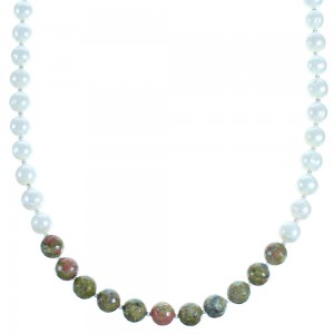 Multicolor And Genuine Sterling Silver Bead Necklace SX115000