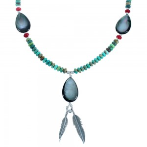 Multicolor Authentic Sterling Silver Feather Bead Necklace SX115063