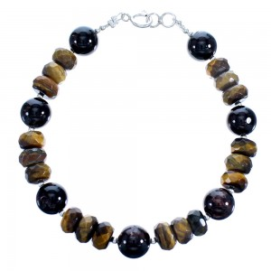 Sterling Silver Tiger Eye And Garnet Bead Bracelet SX115092
