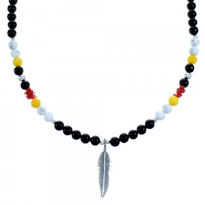Multicolor And Sterling Silver Feather Bead Necklace SX115157