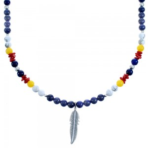 Feather Sterling Silver Southwest Multicolor Bead Necklace SX115158