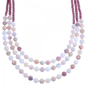 Rhodochrosite And Pink Opal Agate Sterling Silver 3-Strand Bead Necklace RX115202