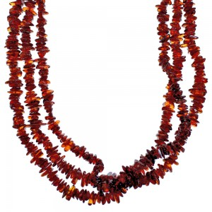 Amber And Sterling Silver 3-Strand Southwest Bead Necklace SX115297