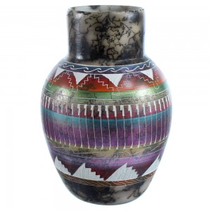 Hand Crafted Horse Hair Navajo Pot By Artist Joann Johnson SX115441