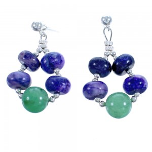 Sterling Silver Aventurine And Charoite Post Dangle Bead Earrings RX115654