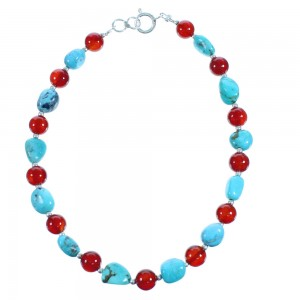 Sterling Silver Southwest Turquoise And Carnelian Bead Bracelet RX115704
