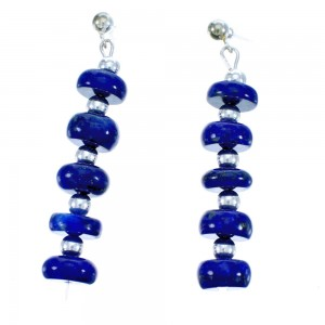 Sterling Silver And Lapis Bead Post Dangle Earrings DX116685