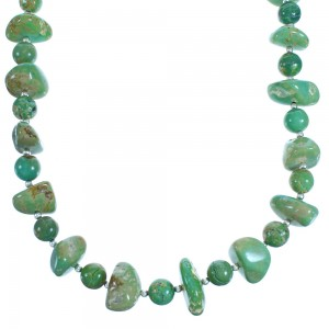 Turquoise And Genuine Sterling Silver Bead Necklace BX116275