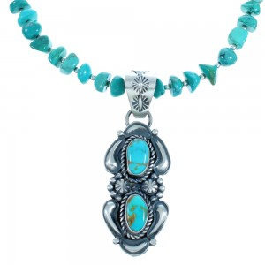 Turquoise Sterling Silver Navajo Bead Necklace And Pendant Set BX116378
