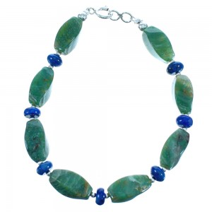 Lapis And Rhyolite Sterling Silver Bead Bracelet BX116391