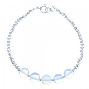 Opalite And Sterling Silver Bead Bracelet BX115935