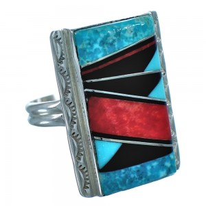 Native American Sterling Silver Multicolor Inlay Ring Size 8-3/4 DX116285