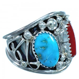 Navajo Turquoise And Coral Sterling Silver Ring Size 12-1/4 ZX116194