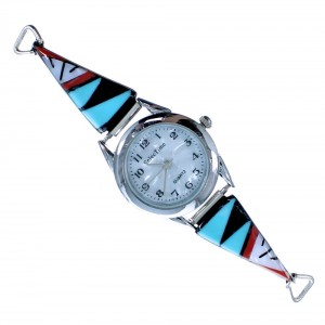 Sterling Silver Native American Inlay Watch ZX116703