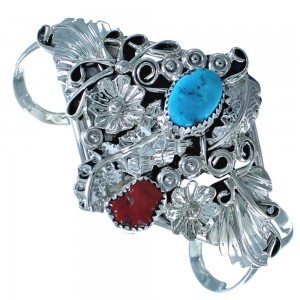 Sterling Silver Turquoise And Coral Navajo Cuff Bracelet ZX117024