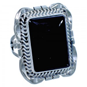 Sterling Silver Onyx Navajo Ring Size 5-3/4 BX117190