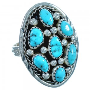 Turquoise Sterling Silver Navajo Ring Size 10 BX117201