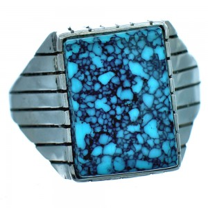 Ray Jack Navajo Sterling Silver Turquoise Ring Size 12-1/4 BX117216