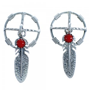 Native American Sterling Silver Coral Dream Catcher Feather Post Dangle Earrings DX117256