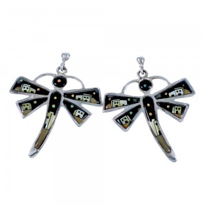 Pueblo Design Multicolor Inlay And Sterling Silver Dragonfly Post Dangle Earrings CS117902