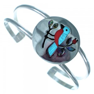 Zuni Indian Genuine Sterling Silver Multicolor Inlay Blue Bird Bracelet RX117403