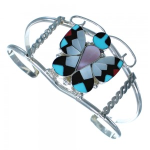Multicolor Inlay Sterling Silver Butterfly Zuni Cuff Bracelet RX117410