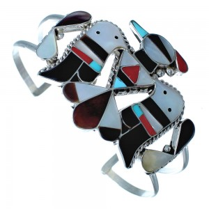 Silver Thunderbird Multicolor Inlay Zuni Indian Cuff Bracelet RX117414