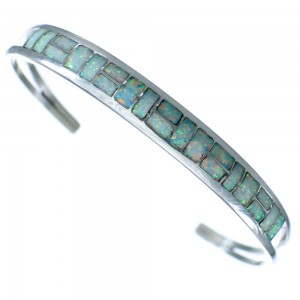 American Indian Sterling Silver Opal Inlay Cuff Bracelet RX117424