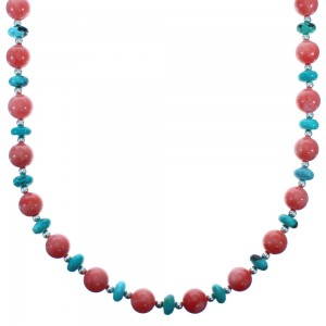 Southwest Turquoise and Pink Coral Sterling Silver Bead Necklace DX117798