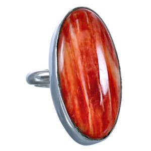 Authentic American Indian Sterling Silver Red Oyster Shell Ring Size 8-1/2 CS118072