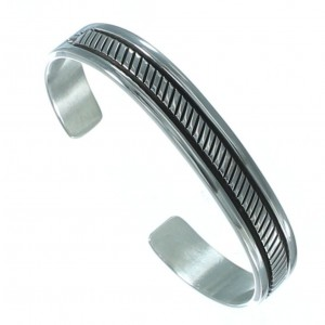 American Indian Authentic Sterling Silver Cuff Bracelet EA118210
