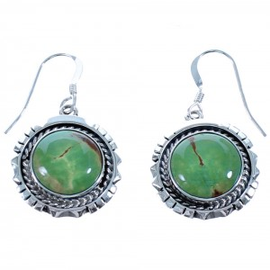 Green Turquoise Twisted Sterling Silver Navajo Hook Dangle Earrings CB118618