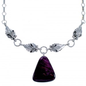 Purple Oyster Shell Scalloped Leaf Sterling Silver Navajo Link Necklace CB118534