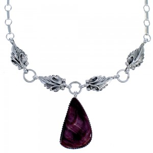 Scalloped Leaf Purple Oyster Shell Sterling Silver Navajo Link Necklace CB118538