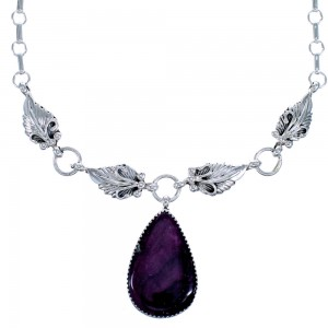 Purple Oyster Shell and Sterling Silver Tear Drop Leaf Navajo Link Necklace CB118540