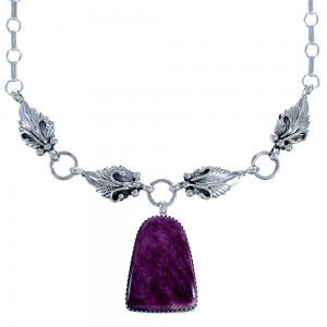 Native American Purple Oyster Shell Sterling Silver Scalloped Leaf Link Necklace CB118544