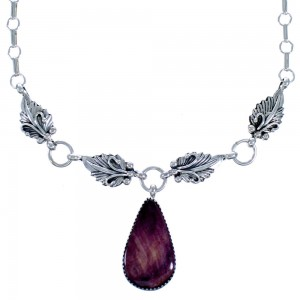 Navajo Tear Drop Purple Oyster Shell Sterling Silver Scalloped Leaf Link Necklace CB118546