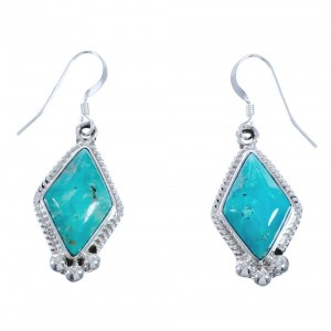 Turquoise and Twisted Sterling Silver Native American Hook Dangle Earrings CB118272