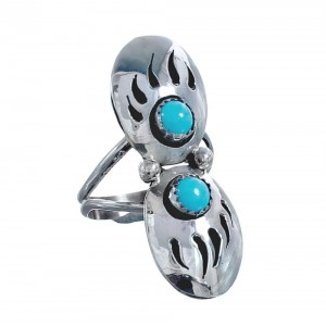Double Bear Paw Traditional Navajo Turquoise Sterling Silver Ring Size 11-1/4 CB118307