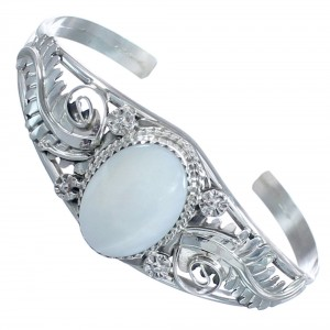 Mother of Pearl Sterling Silver Leaf Navajo Cuff Bracelet CB118355