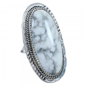 Howlite and Sterling Silver Navajo Ring Size 9 CB118703