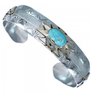 Sterling Silver Turquoise 12 KGF Bear Native American Cuff Bracelet RX119279