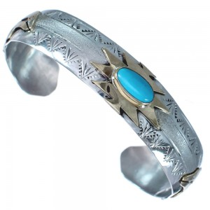 Authentic Sterling Silver Turquoise 12 KGF Bear Navajo Cuff Bracelet RX119281