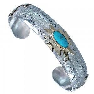 Navajo Sterling Silver Turquoise 12 KGF Horse Cuff Bracelet RX119286