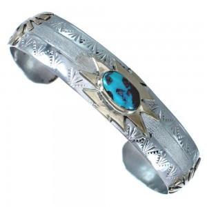 Kokopelli Native American Sterling Silver Turquoise 12 KGF Cuff Bracelet RX119290