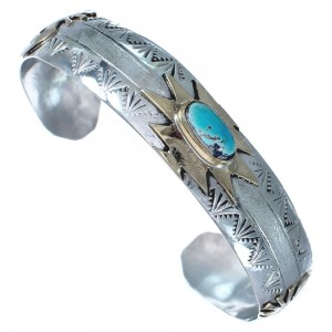 Kokopelli Native American Authentic Sterling Silver Turquoise 12 KGF Cuff Bracelet RX119292